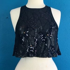 UO Pins & Needles fully sequined black crop top, S